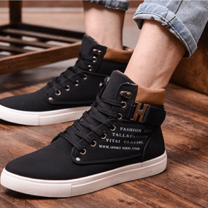 Fashion Suede High Top Fashion Casual Sneakers – Black